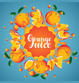 banner orange juice orange slices and splashes vector image