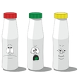 Milk smailing bottle set 008 vector image