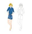 Girl Denim Fashion Caucasian Color No 2 vector image