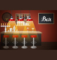 bar counter in pub or night club of vector image