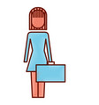 businesswoman holding briefcase standing character vector image