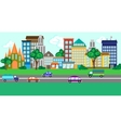 City street with a set of buildings and vehicles vector image