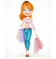 Cute redhead shopaholic girl goes with paper bags vector image