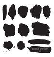dark black grunge watercolor ink texture set vector image