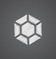 diamond sketch logo doodle icon vector image