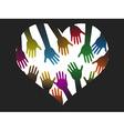 diversity color hands of heart vector image