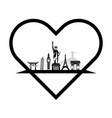 landmarks of the world in the form of heart vector image