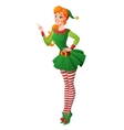 Pinup girl in Christmas elf costume finger vector image