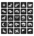 Black Weather and nature icons vector image