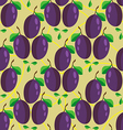 Seamless pattern of whole plum fruits vector image