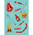 Cartoon barbecue icons set vector image