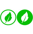 two green leaf icons vector image