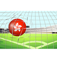 A soccer ball at the field with the flag of vector image