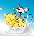 Mouse sails on raft cheese - vector image