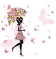 flower girl with umbrella vector image