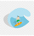 surfer riding the wave isometric icon vector image