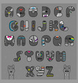 hipster alphabet funny gray artistic font vector image