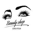 beauty salon poster with eyes eyelashes vector image