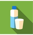 Bottle and glass of water icon flat style vector image