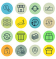 set of 16 commerce icons includes calculation vector image