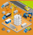 building area isometric composition vector image