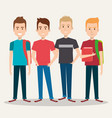 group of four boy cartoon teenager students vector image