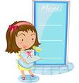 Girl and menu vector image vector image