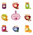 Different Berry And Fruit Jam Jars Set Of vector image