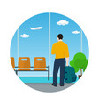 icon airport waiting room with man vector image