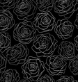 seamless pattern of roses on a black background vector image vector image