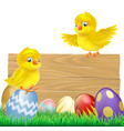 Isolated easter sign with eggs and chicks vector image