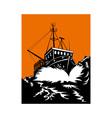 fishing boat at sea vector image