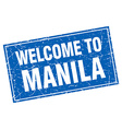 Manila blue square grunge welcome to stamp vector image