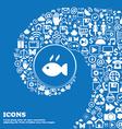 Fish dish Icon sign Nice set of beautiful icons vector image