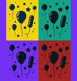 greeting card set with lot of balloons and stars vector image