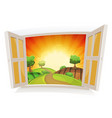 open window on a summer rural landscape vector image