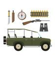 safari travel compass rifle binoculars vector image