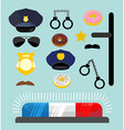 Police icons set Symbols policeman Cop accessories vector image