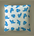 pillow with blue bird pattern vector image