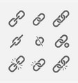 links icon set vector image vector image