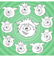 Funny cartoon piglet faces around big pig face vector image