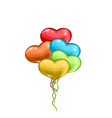 bunch colorful balloons in the shape of hearts vector image vector image