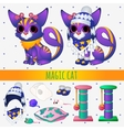 Purple magic cat with toys and winter clothing vector image