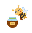 Bee with honey pot vector image