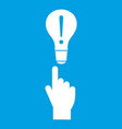 a finger pointer and light bulb icon white vector image