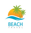 beach travel logo vector image