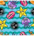 Cartoon seamless pattern with marine life vector image