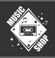 music shop promotional logotype with retro vector image