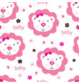 seamless pattern with cute baby girl lions vector image