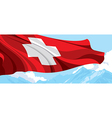 Mountain and Swiss flag vector image vector image